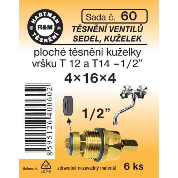 """Tesnenie ventilov sediel, kuželiek: ploché tesnenie kužeľky do batérie T 12 a T 14-1/2"""", sada č.60"""
